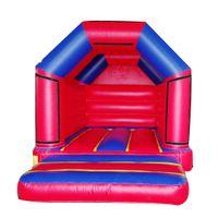 4x3x3m Vermelho cor azul mini bouncer inflável trampolim salto casa de salto castelo com publicidade adesivo para crianças