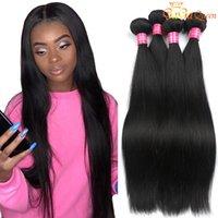 Pacotes de tecer do cabelo reto malaio 4 pcs Virgin Straight Hair Dyeable Cor Natural Gagaqueen