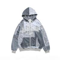 Embroidered Bandana Patchwork Full Zip Hooded Sweatshirts Jackets 2020 Harajuku Hip Hop Casual Hoodies Coats Tops Mens WQ017