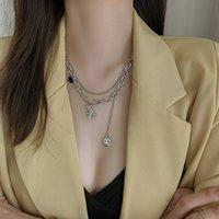 Двухслойные цепные ожерелья, улыбающееся лицо медведь животных кулон ожерелье хип-хоп ювелирные изделия