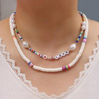 Chokers Seed Beads Love Lady Necklace Set Multilayer Band Name Fashion Pearl Boho Retro Streetwear Collier Women's Accessories