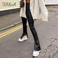السراويل الجلدية السوداء بو المرأة أزياء 2021 سبليت الخريف الشتاء السراويل عالية الخصر البريدي السيدات قلم سليم تصميم طويل بانت المرأة كابريس