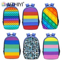 Backpack Style 3D Print Rainbow Color Push Bubble Fashion Book Storage Bag Students Large Capacity Schoolbags Rucksack Family Game
