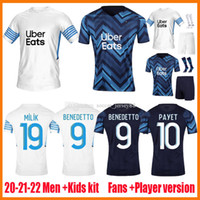 Olympique de Marseille Jerseys de futebol 2021-22 2021 2022 Thauvin 21 2 22 Payet om Milik Maillot Foot Cuidados Benedetto Kamara Uniformes Kits Camisa de Futebol
