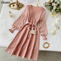 Повседневные платья Luzuzi Романтические женщины вязаное розовое платье для вечеринки 2021 весна V шеи элегантный шифон с длинным рукавом ютные дамы
