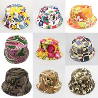 2021 Ins Baby Summer Sun Hat Bucket Helmet Flower Watermelon Fruit Printed Girl Boy Child Topee Lovely Beach 30 Colors