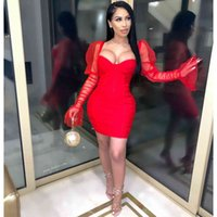 2021 spring and summer new women's dress with breast wrapped mesh sleeve nightclub style sexy hip wrapped dress