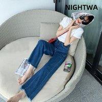 Kadın Kot Nightwa 2021 Açık Mavi Denim Pantolon Kadın Kore Düz Uzun Pantolon Yüksek Bel Rahat Gevşek Çapaklar Vintage Geniş Bacak