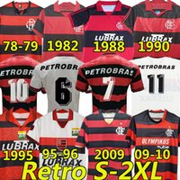 Flamengo Romario Ретро футбольные трикотажки 1978 79 82 88 90 95 96 2009 10 Home Red Black Black Vintage Classic Collection Collection Flemish футболка Bebeto Moreira