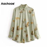 Aa Aahoae Leopard Стильная рубашка Женщины отключить воротник Офис мода женская блузка с длинным рукавом плюс размер леди вершины Blusa Feminina