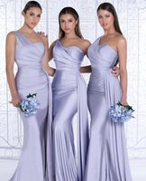 Simple One Shoulder Bridesmaid Dresses For Africa Unique Design 2021 New Full Length Wedding Guest Gowns Junior Maid Of Honor Dress Ribbon Satin Party