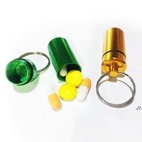 Titular de la llave Aluminio impermeable Caja de píldoras Soporte de la botella Llavero Llavero Llavero Caja de píldoras Tarra de almacenamiento 48mm * 17mm Stash AHB6015
