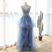 Beautiful Sexy Spaghetti Blue Evening Dress 2021 Prom Dresses Party Gowns vestidos fiesta robe soirée de mariage