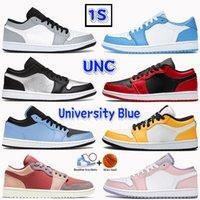 2021 Basse 1 1S SSC Men Hommes Chaussures de basket-ball Lumière Smoke University Bleu Blue Black Bred Bred Laser Orange Arctique Punch Hommes Baskets Femmes Formatrices