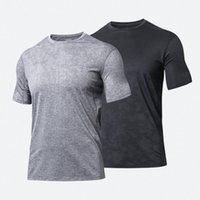 Mens lulu yoga gym short sports t shirts align crewneck sleeve mesh shirt top tops Wear designer lu Elastic Fitness Tights Workout men