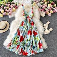 Menahem 2021 Été Mode piste de mode Floral Robe de vacances Femme Sans manches Boho Plage élégant Partie plissée Vestido Longo Casual Robe