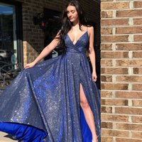 Sparky Blue Sequined Prom Dresses A Line Spaghetti Straps Sexy Side Split Long Formal Evening Gowns For Women Girls Party Special Occasion Wear