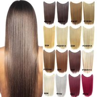 Loop Micro Ring Hair Extensions Wholesale- Paidian Thin 22inch Straight Fish Line Synthetic HairPieces One Piece Heat Resistance Fiber 16 Co