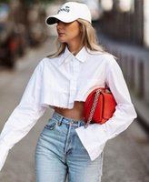 2021 casual shirts women Focus on black and white blouse summer long sleeve button down cotton crop top shirt