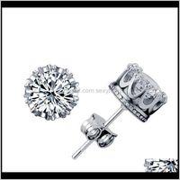 Stud Natural Crystal Zircon Studs Gold Sier Crown Ear Nails Wedding Jewelry Statement Fashion Female Trinket Earrings Op0Ji Gk6Rx