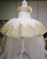 2021 고급스러운 레이스 꽃 소녀 드레스 얇은 명주 그물 얇은 Lilty Kids Birthday Pageant Wedding Gowns ZJ001