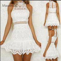 Robes décontractées dames blanches robe de bal creux sans manches sans manches robe courte femme 2021 en dentelle irrégulière élégante Vestidos fête