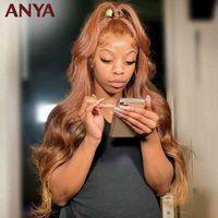 Anya Hd laranja marrom 13x4 laço frontal corporal onda humana peruana remy cabelo pré-arrancado peruca para mulheres negras