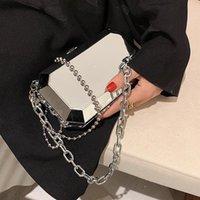 Evening Bags Luxury Silver Metal Box Bag Ladies Party Clutch Chain Purse Crossbody Mini Female Shoulder Handbag Flap