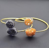 Charm Bracelets Natural Crystal Plating Gold Bracelet Open Bangles For Women Zircon Exaggerated Unique Double End Oval Shape Jewelry