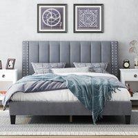 Queen-Size-Bettframe mit einstellbarem Kopfteil, Schlafzimmermöbel, Betten, gepolsterter Plattform, Bettstead, Matratzenfundament, Hölzerne Slats-Unterstützung