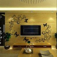 벽 스티커 홈 장식에 대 한 블랙 플라워 포도 나무 나비 DIY 공장 데칼 PVC 벽화 아트 포스터