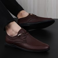 Dress Shoes Men Brand Leather Casual Fashion Comfortable Men'S Flats Round Toe Office Plus Size 37-45