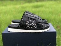 2021 Yaz Alpha Terlik Oblique Jakarlı Siyah Beyaz Naylon Sandalet Rahat Kauçuk Sole Scuffs Sandy Plaj Terlik Boyutu 38-44