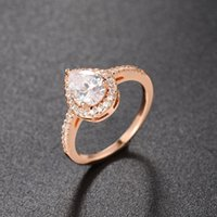 Wedding Rings Crystal Ring For Women Engagement Waterdrop Moissanite Rose Gold Marriage Bride Accessories Gifts Jewelry OHR076