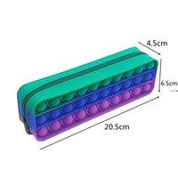 NEWCreative Fidget Pencil-case Children's Rainbow Push Bubble Silicone Capacity Storage Pouches Stationery Box Toys CCE8792