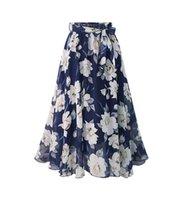 Skirts Plus Size Women Chiffon Skirt Europe Fashion Bow Saia Midi Lining Jupe Femme Lace Up Falda Mujer Print Floral 850E