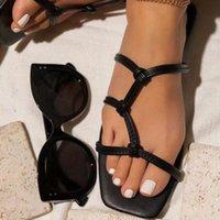 Printemps / été strass jaune artificiel PU Casual Sandal à talons à talons à double talon épais chaussures de viscose plate talon femme pantoufles
