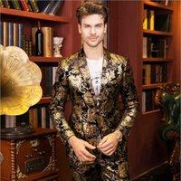 Kıdemli Tasarımcı Altın Baskı Takım Elbise Yüksek Kalite Moda Altın Ceket Marka Düğün Elbise Birinin Ahlak Yetiştirmek erkek Sonbahar Kış Ceket