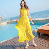 Casual Dresses 2021 Fashion Yellow Dress Summer Knee Chiffon Vest Beach Seaside Holiday Super Fairy