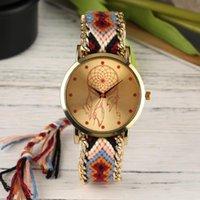Saatı Ulusal Stil Kadın Kol Saati El Yapımı Örgülü Rahat Kuvars Bileklik Için Çok Renkli Bilezik Saatler