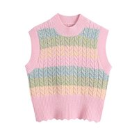 Women's Vests 2021 Striped Knitted Vest Pastel Colors Knit Sleeveless Top Candy Rainbow Sweater