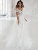 Wedding Dress Off The Shoulder Appliqued Bride Dresses A Line Elegant Lace Wedding Bridal Gowns 2021