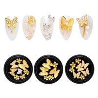 Nail Art Süslemeleri 1 Kutu Temizle Kristal 3D Rhinestones Manikürler için Parlak Kelebek Çiçek Mücevherler DIY El Sanatları Telefonları Takı Çanta