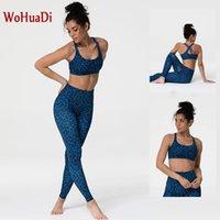 Wohuadi مثير 3d الطباعة الرياضة الصدرية مجموعة اليوغا المرأة الملابس البدلة رياضة اللياقة الرياضية ارتداء ليوبارد عالية الخصر طماق الإناث