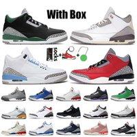 Nike Air Jordan 3 Retro 3 3s Мужские баскетбольные кроссовки 2021 с коробкой Georgetown Midnight Navy UNC Laser Orange Red Black Cement JTH NRG Кроссовки Katrina Trainers
