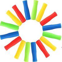 6 cores canudos de aço inoxidável manga silicone 4cm multicolor diâmetro interno 6mm luva de silicone anti colisão de dente AHC7229