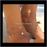 Anklets Jewelrybohemian Key Star Round Tassel Crystal Chain Pendant Multilayer Anklet Womens Beach Party Fashion Jewelry Aessories Drop Deliv