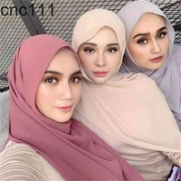 Fashion Plain Bubble Chiffon Sciarpa da donna Hijab Wrap Solid Colorhawls Fascia musulmana Hijabsturbanet FountesCarf 49Colors