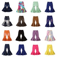 Children Girls Jeans Toddler Baby Kids Children Girls Clothes Bell Bottom Hole Ripped Ruffles Flare Denim Jeans Pants Trousers 3236 Q2