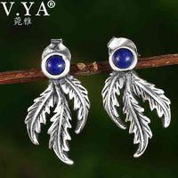 V.YA S925 Sterling Silber-Ohrerpfindungen Ahornblätter Ohrstecker für Frauen Hochzeit Blatt-Ohrhütten Mädchen Silber Schmuck 210512